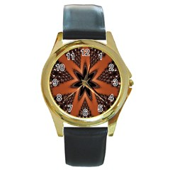 Digital Kaleidoskop Computer Graphic Round Gold Metal Watch by Nexatart
