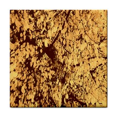 Abstract Brachiate Structure Yellow And Black Dendritic Pattern Tile Coasters by Nexatart