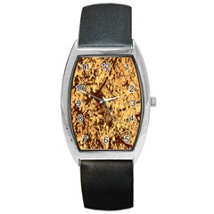 Abstract Brachiate Structure Yellow And Black Dendritic Pattern Barrel Style Metal Watch by Nexatart