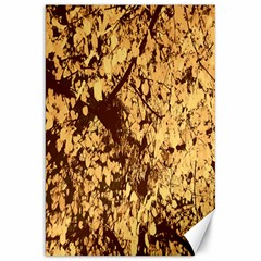 Abstract Brachiate Structure Yellow And Black Dendritic Pattern Canvas 20  X 30