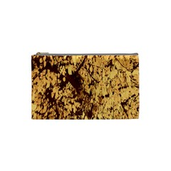 Abstract Brachiate Structure Yellow And Black Dendritic Pattern Cosmetic Bag (small)  by Nexatart