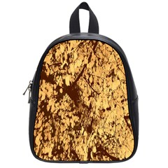 Abstract Brachiate Structure Yellow And Black Dendritic Pattern School Bags (small)