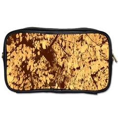 Abstract Brachiate Structure Yellow And Black Dendritic Pattern Toiletries Bags 2 Side by Nexatart