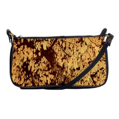 Abstract Brachiate Structure Yellow And Black Dendritic Pattern Shoulder Clutch Bags by Nexatart