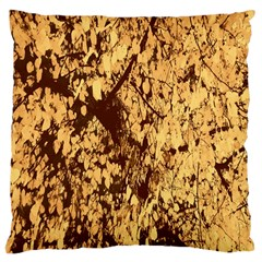 Abstract Brachiate Structure Yellow And Black Dendritic Pattern Large Cushion Case (one Side) by Nexatart
