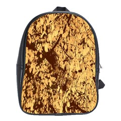 Abstract Brachiate Structure Yellow And Black Dendritic Pattern School Bags (xl)  by Nexatart