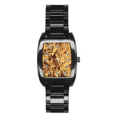 Abstract Brachiate Structure Yellow And Black Dendritic Pattern Stainless Steel Barrel Watch