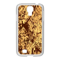 Abstract Brachiate Structure Yellow And Black Dendritic Pattern Samsung Galaxy S4 I9500/ I9505 Case (white)