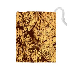 Abstract Brachiate Structure Yellow And Black Dendritic Pattern Drawstring Pouches (large)