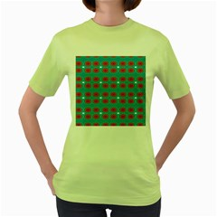 Floral Seamless Pattern Vector Women s Green T Shirt by Nexatart