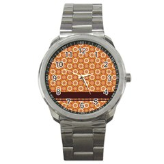 Floral Seamless Pattern Vector Sport Metal Watch by Nexatart