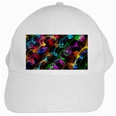 Rainbow Ribbon Swirls Digitally Created Colourful White Cap by Nexatart