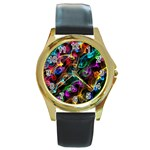 Rainbow Ribbon Swirls Digitally Created Colourful Round Gold Metal Watch Front