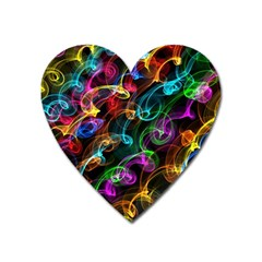 Rainbow Ribbon Swirls Digitally Created Colourful Heart Magnet by Nexatart