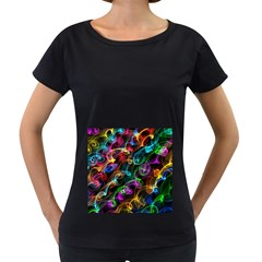 Rainbow Ribbon Swirls Digitally Created Colourful Women s Loose Fit T Shirt (black)