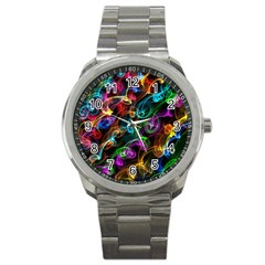 Rainbow Ribbon Swirls Digitally Created Colourful Sport Metal Watch by Nexatart