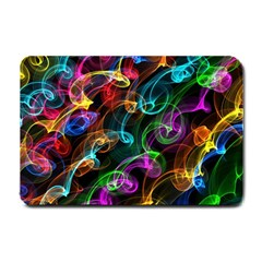 Rainbow Ribbon Swirls Digitally Created Colourful Small Doormat  by Nexatart