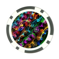 Rainbow Ribbon Swirls Digitally Created Colourful Poker Chip Card Guard (10 Pack)