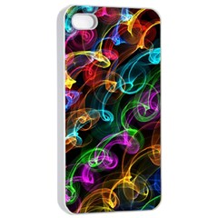 Rainbow Ribbon Swirls Digitally Created Colourful Apple Iphone 4/4s Seamless Case (white) by Nexatart