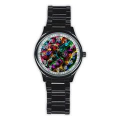 Rainbow Ribbon Swirls Digitally Created Colourful Stainless Steel Round Watch by Nexatart