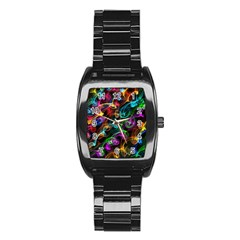 Rainbow Ribbon Swirls Digitally Created Colourful Stainless Steel Barrel Watch by Nexatart