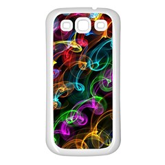Rainbow Ribbon Swirls Digitally Created Colourful Samsung Galaxy S3 Back Case (white)