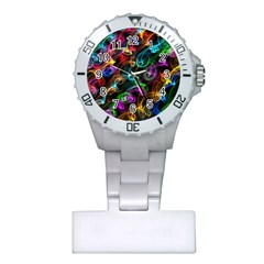 Rainbow Ribbon Swirls Digitally Created Colourful Plastic Nurses Watch by Nexatart