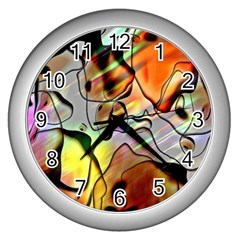 Abstract Pattern Texture Wall Clocks (silver)  by Nexatart
