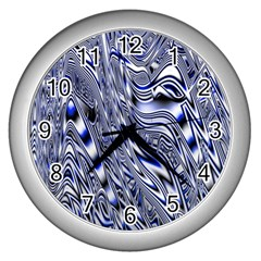 Aliens Music Notes Background Wallpaper Wall Clocks (silver)  by Nexatart