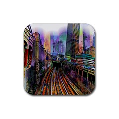 Downtown Chicago City Rubber Coaster (square)  by Nexatart