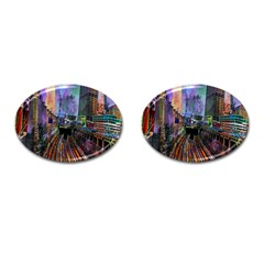 Downtown Chicago City Cufflinks (oval) by Nexatart