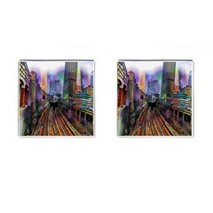 Downtown Chicago City Cufflinks (square) by Nexatart