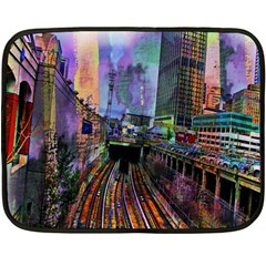 Downtown Chicago City Double Sided Fleece Blanket (mini)  by Nexatart
