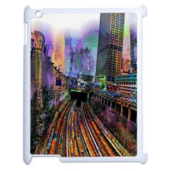 Downtown Chicago City Apple Ipad 2 Case (white) by Nexatart