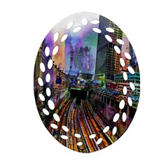 Downtown Chicago City Oval Filigree Ornament (two Sides) by Nexatart
