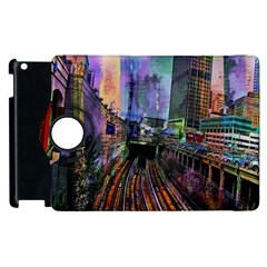 Downtown Chicago City Apple Ipad 3/4 Flip 360 Case by Nexatart