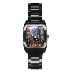 Downtown Chicago City Stainless Steel Barrel Watch