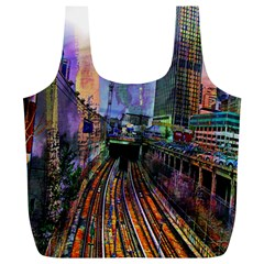 Downtown Chicago City Full Print Recycle Bags (l)