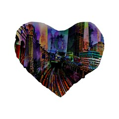 Downtown Chicago City Standard 16  Premium Flano Heart Shape Cushions by Nexatart