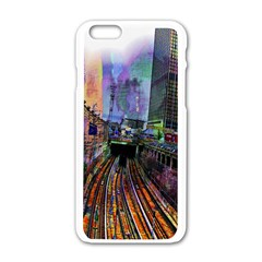 Downtown Chicago City Apple Iphone 6/6s White Enamel Case by Nexatart