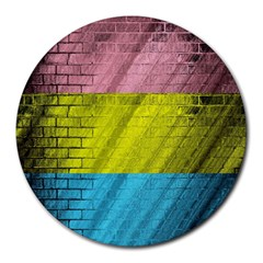Brickwall Round Mousepads by Nexatart