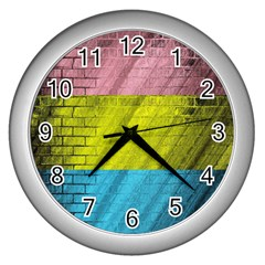 Brickwall Wall Clocks (silver)  by Nexatart
