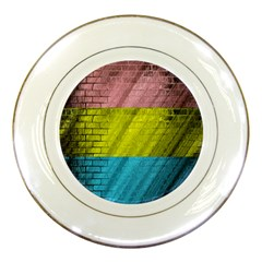 Brickwall Porcelain Plates by Nexatart