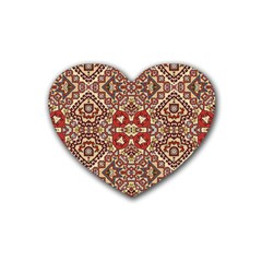 Seamless Pattern Based On Turkish Carpet Pattern Rubber Coaster (heart)