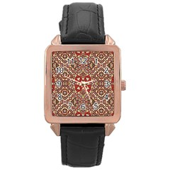 Seamless Pattern Based On Turkish Carpet Pattern Rose Gold Leather Watch