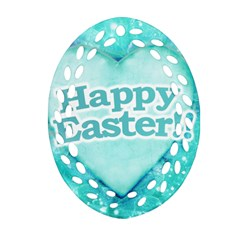 Happy Easter Theme Graphic Oval Filigree Ornament (two Sides) by dflcprints