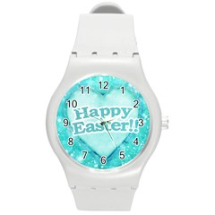 Happy Easter Theme Graphic Round Plastic Sport Watch (m) by dflcprints