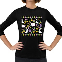Cute Easter Pattern Women s Long Sleeve Dark T Shirts by Valentinaart