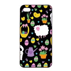 Cute Easter Pattern Apple Iphone 4/4s Seamless Case (black) by Valentinaart