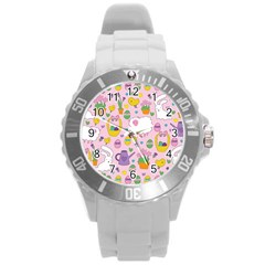 Cute Easter Pattern Round Plastic Sport Watch (l) by Valentinaart